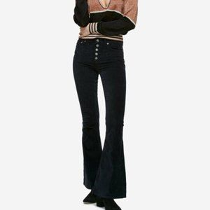 Free People Black Soma Slim Flare Corduroy Pants